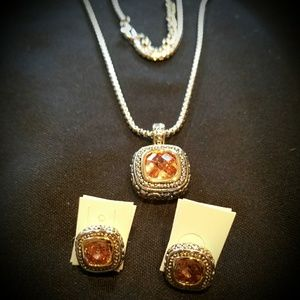Citrine Set of Necklace & Earrings